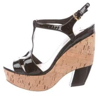 Miu Miu Patent Leather Wedge Sandals