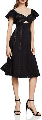 BCBGMAXAZRIA Eyelet Fit-And-Flare Midi Dress