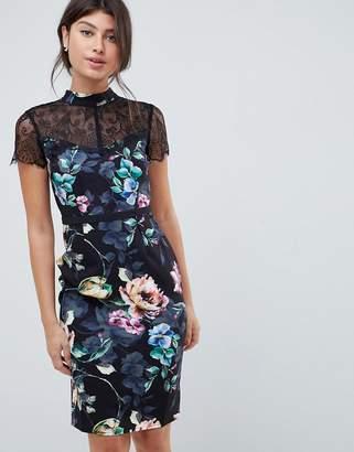 Little Mistress printed lace sleeve pencil dress