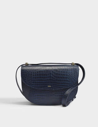 A.P.C. Genève Bag in Dark Navy Crocodile Embossed Leather