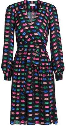 Milly Katy Printed Silk-Crepe Wrap Dress