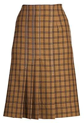 Marni Women's Wool Knife Pleat A-Line Plaid Skirt