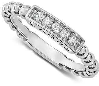 Lagos Sterling Silver Caviar Spark Diamond Stacking Ring