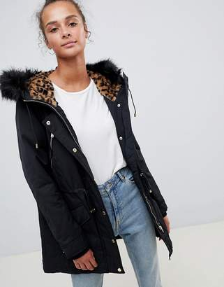 Only Leonora Longline Parka Coat with Faux Fur Trim