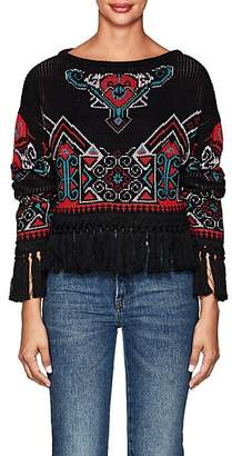 Philosophy di Lorenzo Serafini Women's Fringed Intarsia-Knit Crop Sweater - Black