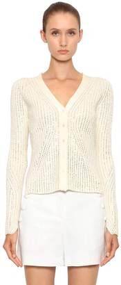Ermanno Scervino CRYSTAL EMBELLISHED RIBBED KNIT CARDIGAN