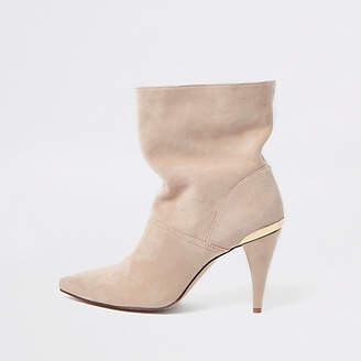 River Island Cream suede slouch cone heel boots