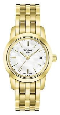Tissot T0332103311100 Women's Classic Dream Date Bracelet Strap Watch, Gold/White
