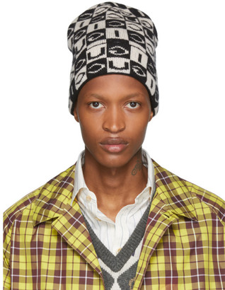 Gucci Black and Off-White Wool Checkerboard Beanie