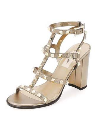 Valentino Rockstud Leather 90mm City Sandal, Skin