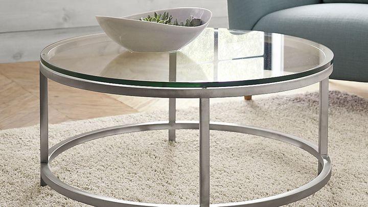 Crate & Barrel Era Round Glass Coffee Table