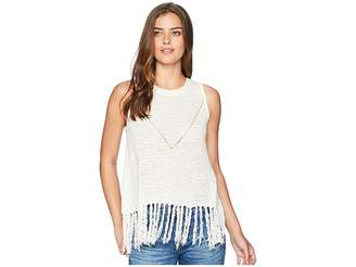 Miss Me Loose Knit Fringe Top Women's Clothing