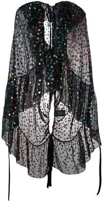 Saint Laurent embellished semi-sheer cape