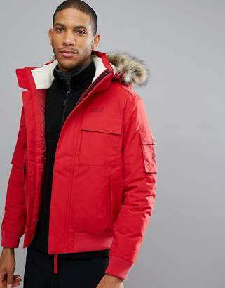 Jack Wolfskin Brockton Jacket with Faux Fur Hood in Red
