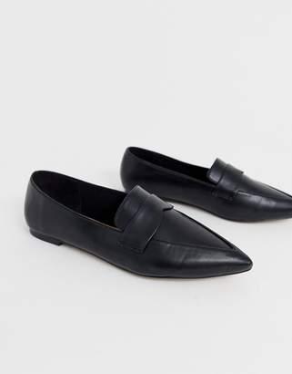 7dd5b7cc49d Asos Design DESIGN Limber pointed loafer ballet flats in black