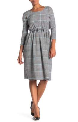 Paolino Plaid Houndstooth Back Tie Dress