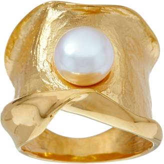 Honora Cultured Pearl Sculpted Satin Band Ring Sterling