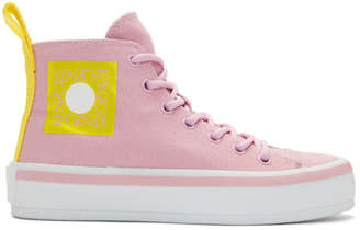 Kenzo Pink Logo K-Street High-Top Sneakers