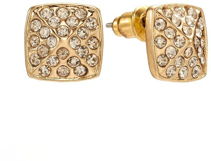 Lauren Conrad gold tone simulated crystal square stud earrings