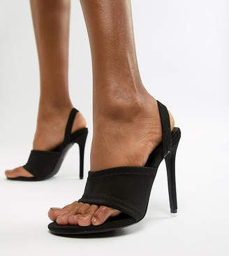 Missguided sling back heeled sandal in black
