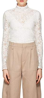 Chloé Women's Cotton-Blend Lace High-Neck Top
