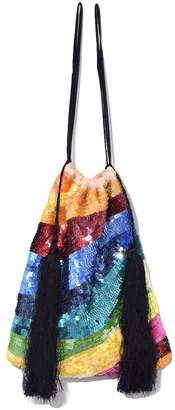 Pouch Bag in Multicolor Georgette Crepe with Sequins and Tassels Attico