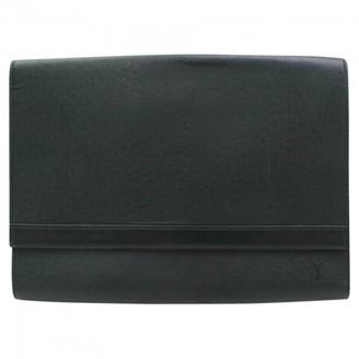 Louis Vuitton Vintage Green Leather Clutch Bag