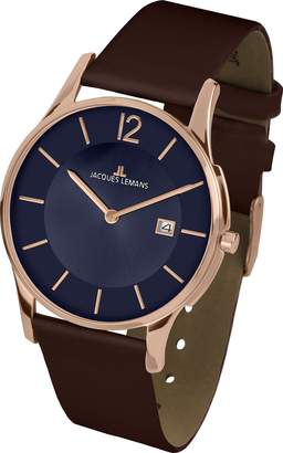 Jacques Lemans Men's Classic London 38mm Brown Leather Band Rose Gold Plated Case Quartz Watch 1-1850I
