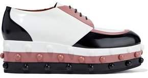 Missoni Studded Color-Block Glossed-Leather Platform Brogues