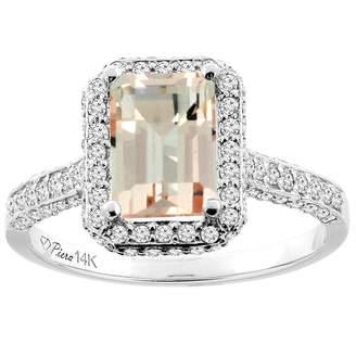 Sabrina Silver 14K White Gold Natural Morganite Engagement Ring Octagon 8x6 mm, size 8