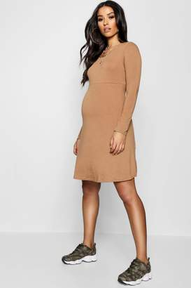 boohoo Maternity Long Sleeve Smock Dress