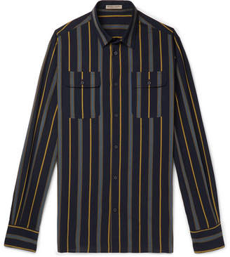 Bottega Veneta Slim-Fit Striped Cotton-Poplin Shirt - Navy