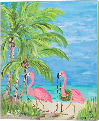 Metaverse Flamingo Christmas II by Julie DeRice Canvas Art