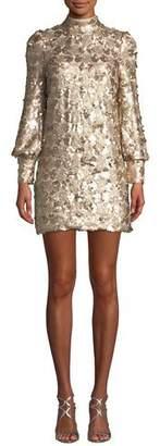 Elliatt Joan Sequin High-Neck Blouson-Sleeve Mini Dress