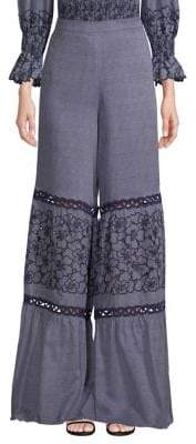 Alexis Elizabeth Wide-Leg Embroidered Pants