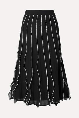 3ccc914c251b6 RED Valentino Ruffled Pointelle-knit Cotton-blend Midi Skirt - Black