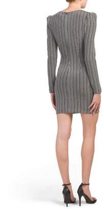 Strong Shoulder Deep V Mini Dress