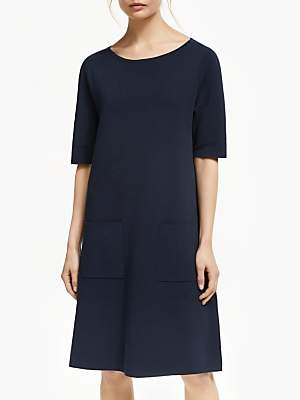 Winser London Milano Cotton Shift Dress, Midnight Navy