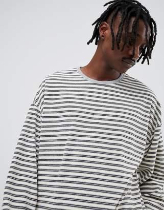 Asos DESIGN oversized long sleeve stripe t-shirt in towelling