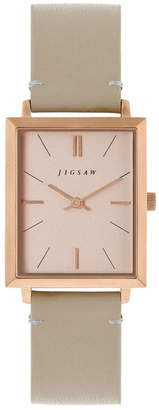 Jigsaw Ladies Watch, Rectangular Rose Gold Stainless Steel Case, Rose Gold Dial, Grey Genuine Leather Strap
