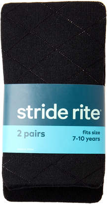 Stride Rite Girls 7-16) Two-Pack Black Diamond Knit Tights