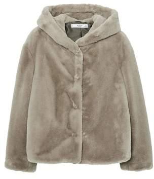 MANGO Hooded faux-fur coat