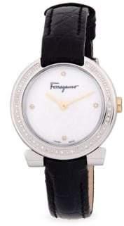 Salvatore Ferragamo Stainless Steel, Diamond & Sapphire Leather-Strap Watch