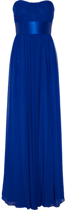 Notte by Marchesa Strapless silk-chiffon gown