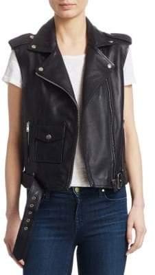Maje Baldwin Belted Leather Moto Vest