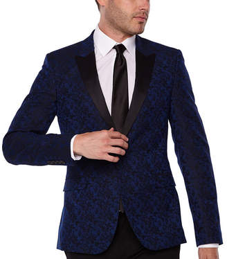 Jf J.Ferrar Formal Stretch Bright Blue Floral Super Slim Fit Sport Coat