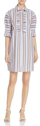 Tory Burch Striped Ruffled Shirtdress