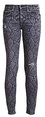 Rag & Bone Women's Cate Mid-Rise Python-Print Distressed Skinny Ankle Jeans