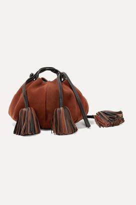 Ulla Johnson Brea Tasseled Leather-trimmed Suede Shoulder Bag - Brick