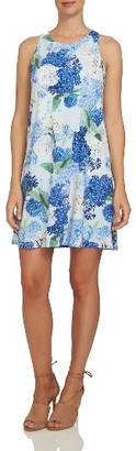 Women's Cece Hydrangea Print Twist Back Knit Dress $109 thestylecure.com